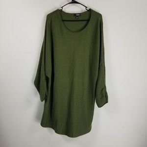 A.N.A long tie sleeve sweater tunic XXL green